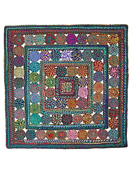 helline home - Tapis rond à motifs ethniques, décoré main