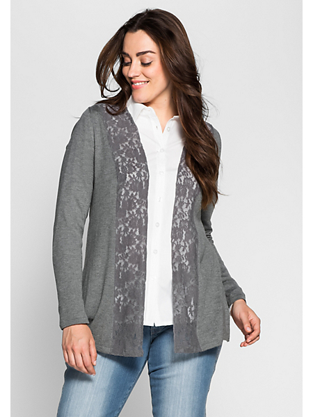 Sheego Style - Gilet en tricot sheego Style en dentelle