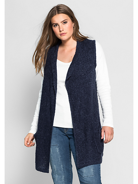 Sheego Casual - SHEEGO CASUAL mouwloos vest in bouclékwaliteit