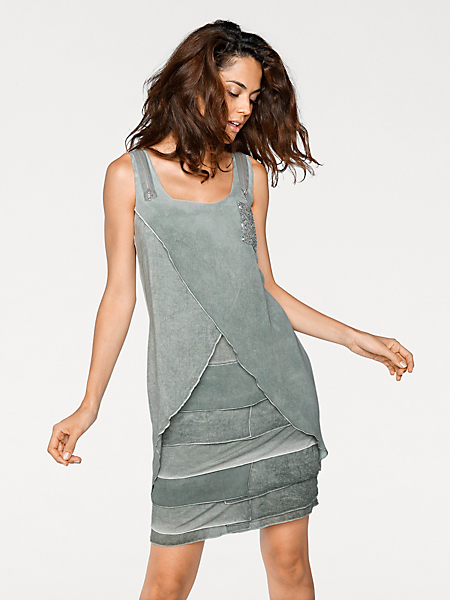 Linea Tesini - Robe fluide grise en voile, poche scintillante
