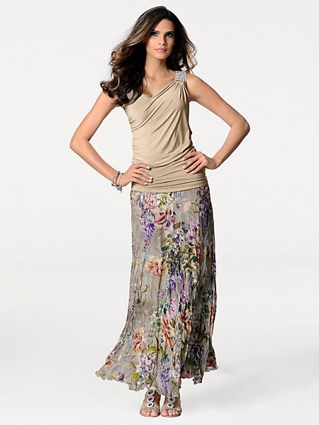 Ashley Brooke - Jupe longue en voile gris, fleurs colorées