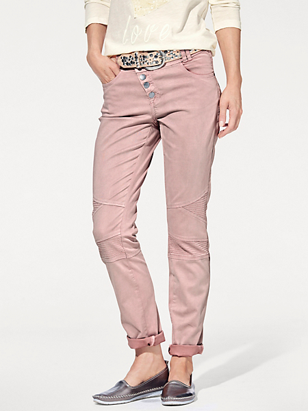 B.C. Best Connections - Pantalon femme slim coloré à coutures genoux originales