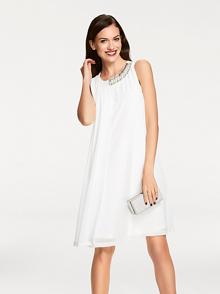 Ashley Brooke - Robe courte habillée en voile fluide blanc, col strass