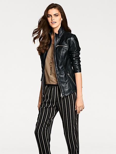 Patrizia Dini - Veste en cuir élégante cintrée femme à zip double sens