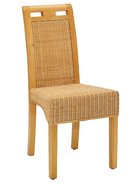 helline home - Chaise en bois massif habillée de rotin, lot de deux
