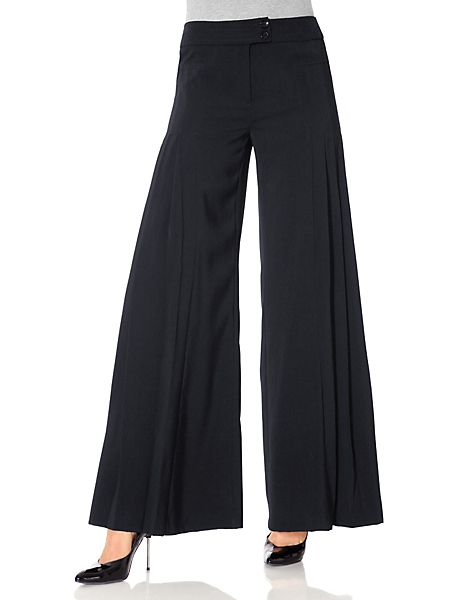 Ashley Brooke - Pantalon large type jupe-culotte, ceinture large