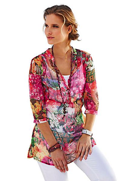 B.C. Best Connections - Tunique en voile motif floral, manches 3/4, boutons