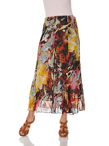 Ashley Brooke - Jupe longue imprimée en voile aspect froissé