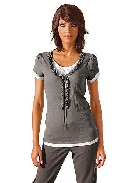 Linea Tesini - T-shirt femme effet froissé à manches courtes