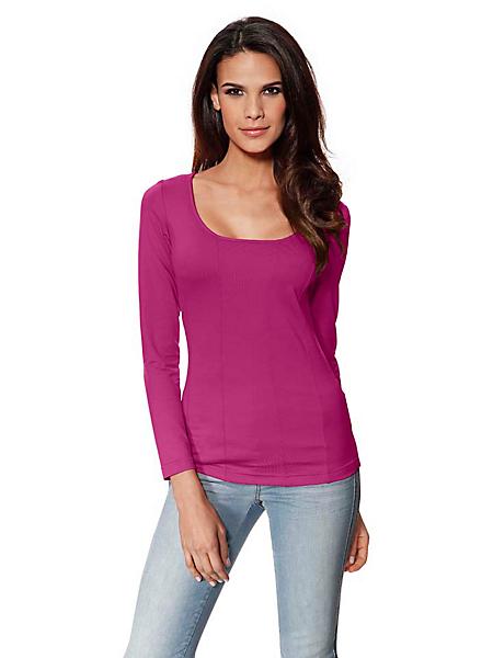 Patrizia Dini - T-shirt femme à manches longues, encolure carrée