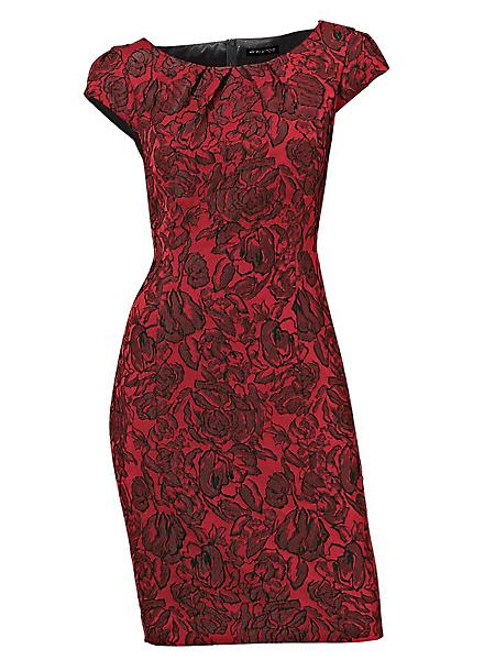 Ashley Brooke - Robe ajustée en jacquard rouge avec motif floral