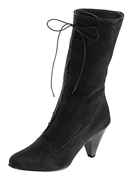 helline - Bottes zippée en cuir velours, talons fins de 6,5 cm