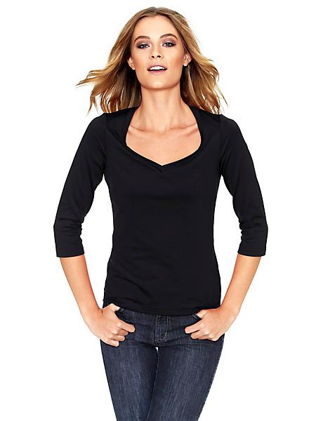 Patrizia Dini - T-shirt basique femme avec manches 3/4 et col en V
