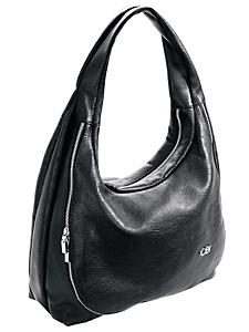 Collezione Alessandro - Sac à main besace noir en cuir, avec zip tendance