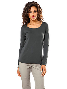 B.C. Best Connections - T-shirt femme à col rond uni et manches longues