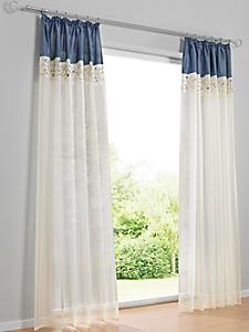 helline home - Rideau en voile blanc, bordure colorée et broderie
