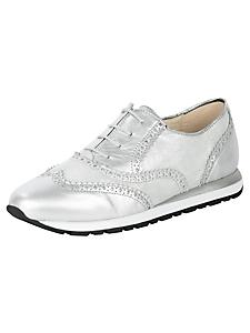 helline - Chaussures tennis en cuir argenté pour femmes