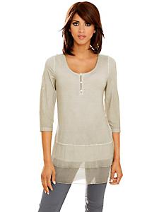 Linea Tesini - T-shirt femme mode avec volants en soie, manches 3/4