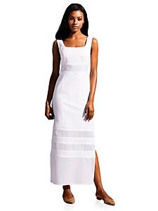Patrizia Dini - Robe longue unie en lin avec empiècements transparents