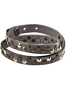 helline - Bracelet femme à enrouler en cuir, détails rivets