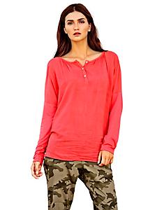 Rick Cardona - T-shirt ample pour femme au col large et boutonné