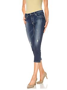 B.C. Best Connections - Corsaire en jean femme ajusté, effet usé