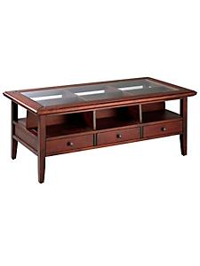 helline home - Table basse à tiroirs et casiers, plateau en verre