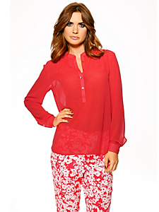Ashley Brooke - Chemisier long en voile rouge corail, manches longues