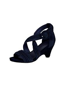 helline - Sandales en cuir velours bleu marine élégant