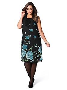 Sheego Style - Robe courte en voile à imprimé fleuri ornée de dentelle