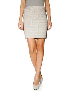 Travel Couture - Jupe courte tissée taille haute beige, fermeture zip