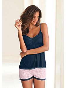 Lascana - Pyjama femme, shorty à pois et haut dentelé