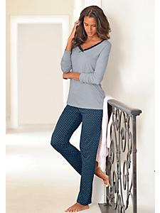 Lascana - Pyjama femme, pantalon à pois et col en V