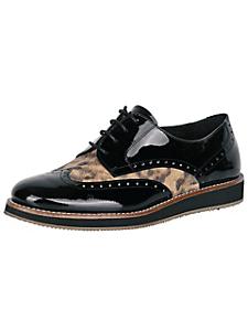 helline - Chaussures derbies vernies à empiècement léopard