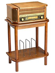 helline home - Porte tourne-disque en bois massif et rangement vinyles