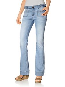 Mandarin - Jean femme coupe bootcut, détails tressés à la ceinture