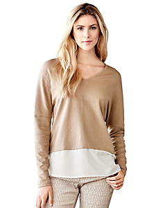 Travel Couture - Pull-over en tricot fin bicolore et col V, coupe ample