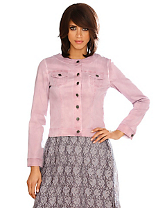 Linea Tesini - Veste en jean courte rose sans col, fermeture boutons