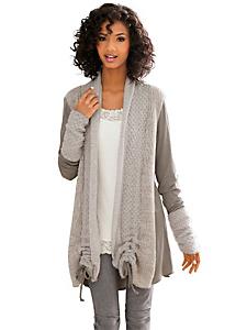 Linea Tesini - Gilet long en tricot style patchwork, longueur réglable
