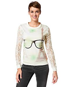 helline - Sweat-shirt femme, manches en dentelle et motifs chics
