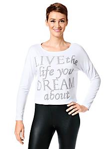 helline - T-shirt uni manches longues avec inscription pailletée