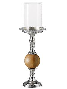 helline home - Bougeoir sur pied en métal martelé et bois design