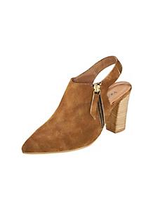 helline - Escarpins femme en cuir velours, glissière tendance