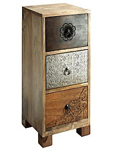 helline home - Commode étroite 3 tiroirs sculptés, bois massif