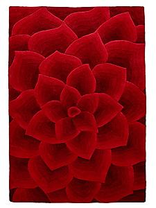helline home - Tapis moderne à motif fleur en laine vierge