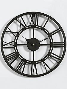 helline home - Horloge murale en métal patiné style rétro-industriel