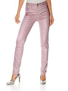 Ashley Brooke - Pantalon slim enduit rose effet ventre plat pour femme