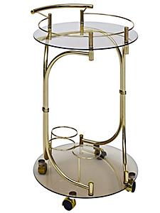 helline home - Desserte ronde design en verre et métal style ancien