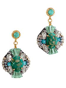 helline - Boucles d'oreilles vertes et dorées à pierres et métal