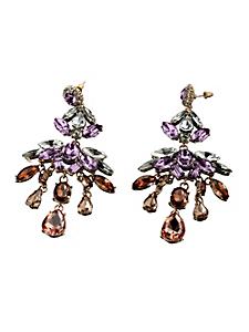helline - Boucles d'oreilles pendantes, métal et pierres de verre